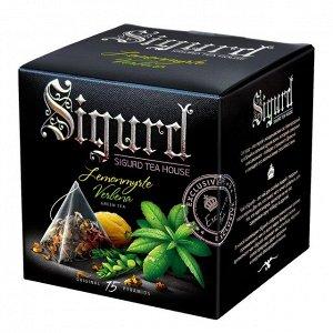 SIGURD чай зеленый лимонный мирт-вербена Green Tea Lemonmyrtle & Verbena, 15 пирамидок в саше-конверте по 2 г