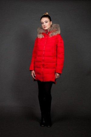 Куртка женская зимняя 827 красный натуральный мех
