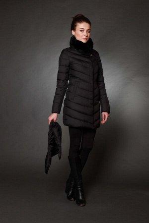 Куртка женская зимняя 7533 черный натуральный мех