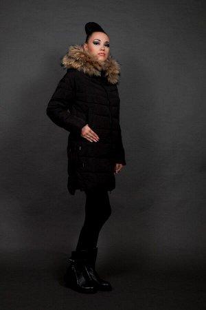 Куртка женская зимняя 827 черный натуральный мех