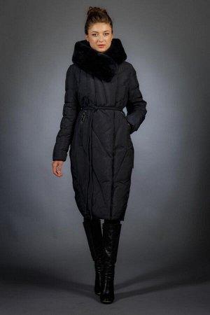 Женская куртка зимняя F9265 темно-синий натуральный мех