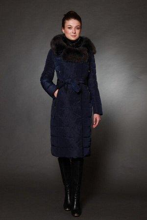 Куртка женская зимняя 1719 синий натуральный мех