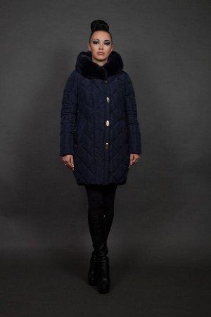 Куртка женская зимняя 16815 синий натуральный мех