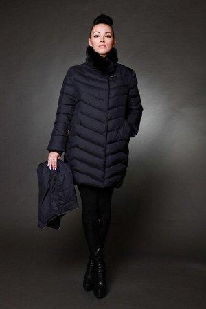 Куртка женская зимняя 7555 синий натуральный мех