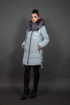 Куртка женская зимняя 16092 ментол натуральный мех