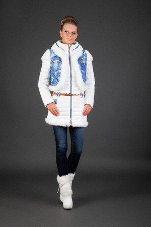 Пуховик-двойка 778 белый натуральный мех