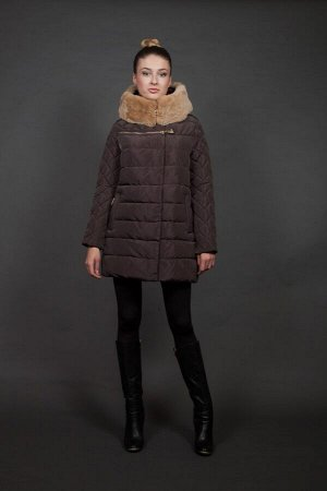 Куртка женская зимняя 16727 шоколад натуральный мех