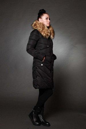 Куртка женская зимняя 8715 черный искусственный мех