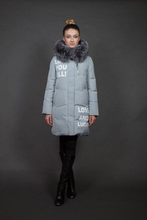 Куртка женская зимняя 16085 ментол натуральный мех