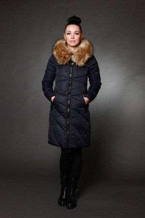 Куртка женская зимняя 8715 синий искусственный мех