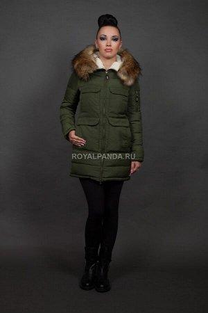 Женская куртка зимняя 9653 хаки искусственный мех