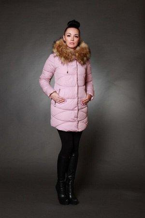 Куртка женская зимняя 1701 пудра искусственный мех