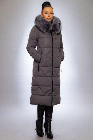 Женская куртка зимняя 19102 графит искусственный мех