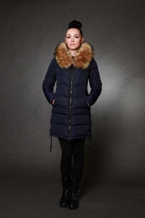 Куртка женская зимняя 1729 синий искусственный мех