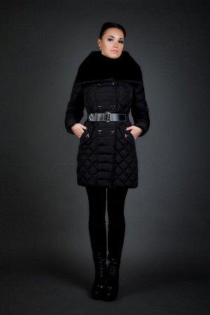 Женская куртка зимняя 15672 черный натуральный мех