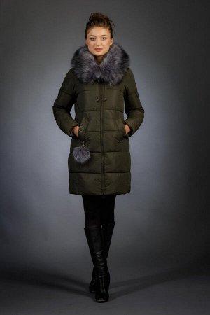 Женская куртка зимняя 1818 хаки искусственный мех