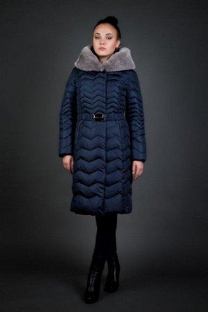 Женская куртка зимняя 6219 сапфир натуральный мех