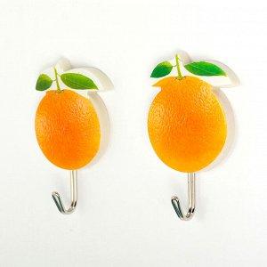 Набор крючков на липучке «Апельсины», 2 шт, цвет оранжевый