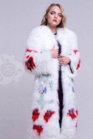 Пальто из песца со вставками меха лисы