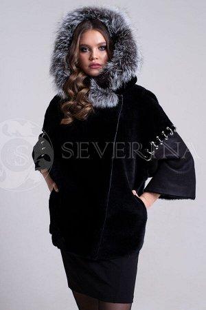Куртка из овчины с лисьим капюшоном