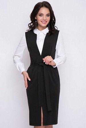 Сарафан Сарафан из костюмной ткани в мелкую полоску. В боковых швах карманы,застежка в среднем шве спинки на молнию.Пояс в комплекте.  Состав: 50% вискоза,45% п/э,5% лайкра
