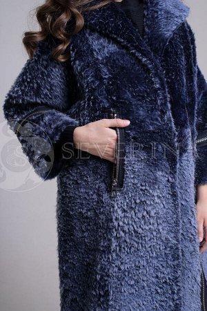 Шуба из овчины синего цвета на молнии