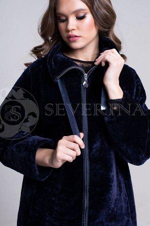 Куртка из овчины на молнии синяя