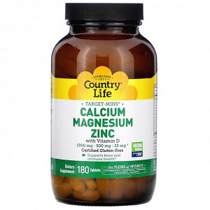 Country Life, Target-Mins Calcium Magnesium Zinc with Vitamin D, 180 Tablets