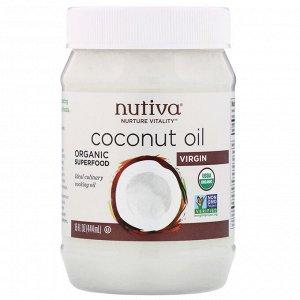 Nutiva, Органическое кокосовое масло, первого отжима, 444 мл
