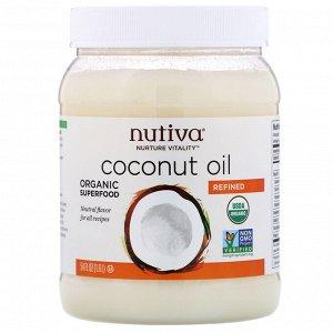 Nutiva, Органическое кокосовое масло, рафинированное, 1,6 л (54 жидк. унции)