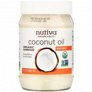 Nutiva, органическое кокосовое масло, рафинированное, 444 мл (15 жидких унций)