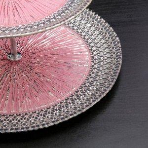 Блюдо 2-х ярусное «Морион», d=21/27 см, цвет чёрно-розовый с серебром