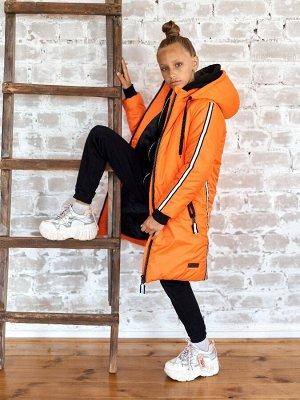 Пальто для девочки Спорт оранжевый  (t до -25)