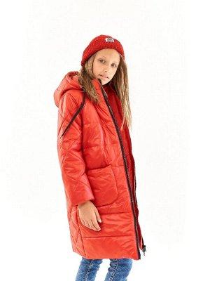 Пальто для девочки Классик красный (t до -25)
