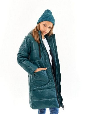 Пальто для девочки Классик малахит (t до -25)
