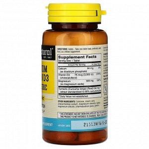 Mason Natural, Магний & витамин D3 с куркумой, 60 таблеток