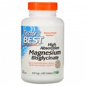 Doctor&#x27 - s Best, High Absorption Magnesium Bisglycinate, 100 mg , 240 Tablets