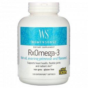 Natural Factors, WomenSense, RxOmega-3, 120 мягких таблеток Enteripure