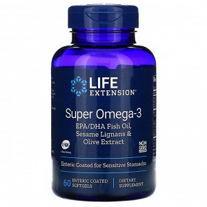 Life Extension, Super Omega-3 EPA/DHA Fish Oil, Sesame Lignans & Olive Extract, 60 Enteric Coated Softgels