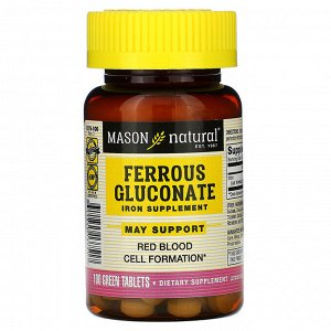 Mason Natural, Ferrous Gluconate, 100 Green Tablets