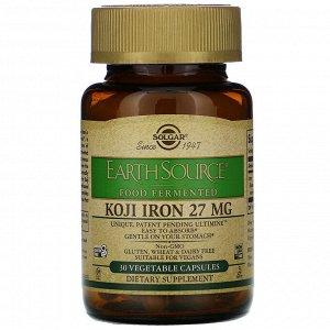 Solgar, EarthSource Food Fermented, Koji Iron, 27 mg, 30 Vegetable Capsules