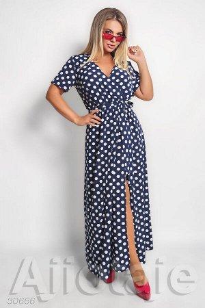 Платье в пол синего цвета в горох