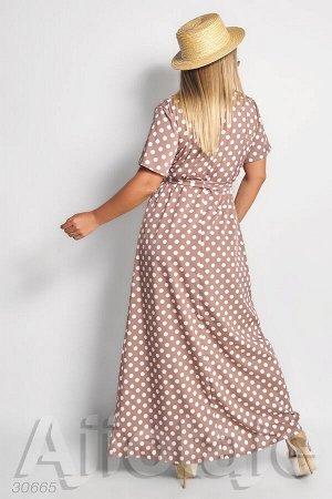 Платье в пол цвета мокко в горох