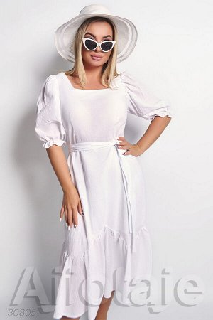 Белое хлопковое платье с вырезом Каре