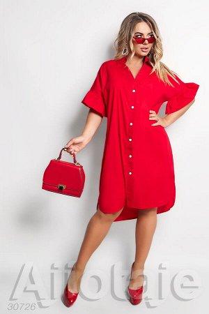 Красное платье на пуговицах с коротким рукавом