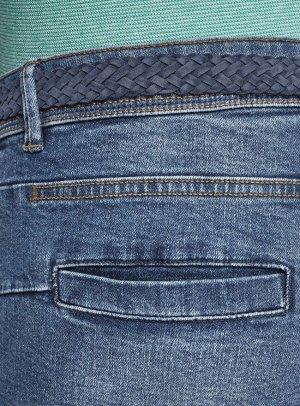 Шорты джинсовые с плетеным ремнем