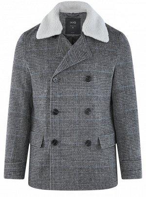 Пальто укороченное с воротником из искусственного меха