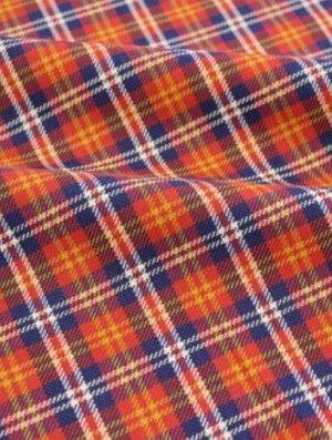 """Шотландка """"Сине-бело-желтая клетка на красном"""", хлопок-100%, 1.4 м"""