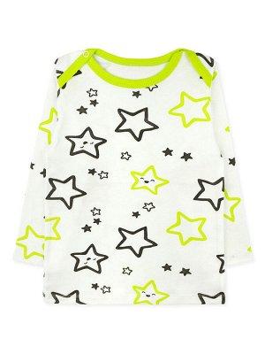 """Кофточка Цвет: Белый, Салатовый; Рисунок: Звёзды; Материал: Хлопок 100%; ТИП ТКАНИ: Интерлок Отличная ясельная кофточка с набивным рисунком """"звёзды"""" по всему изделию. На плечах имеются кнопочки (по од"""