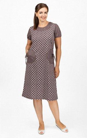 """Платье с карманами, """"горошек"""", коричневый (655-1)"""